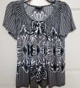 Style &Co Women Printed Black/white top